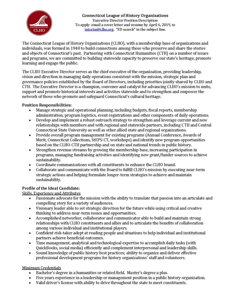 Connecticut League of History Organizations - Employment